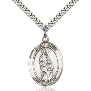 Bliss St. Anne Pendant - Oval, Large, Sterling Silver