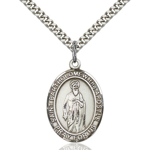 Bliss St. Bartholomew the Apostle Pendan - Oval, Large, Sterling Silver