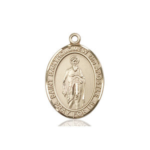 Bliss St. Bartholomew the Apostle Medal - Oval, Large, 14kt Gold
