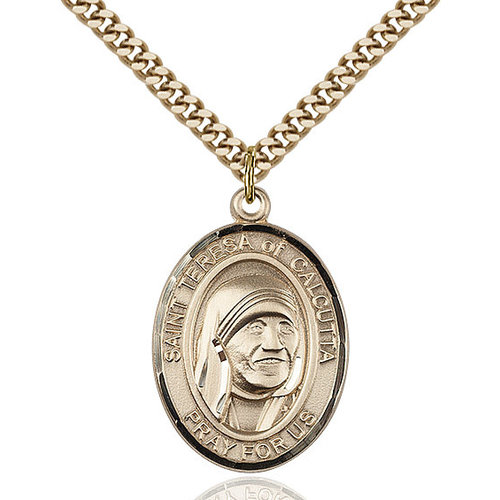 Bliss Blessed Teresa of Calcutta Pendant - Oval, Large, 14kt Gold Filled