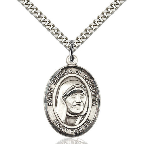 Bliss Blessed Teresa of Calcutta Pendant - Oval, Large, Sterling Silver