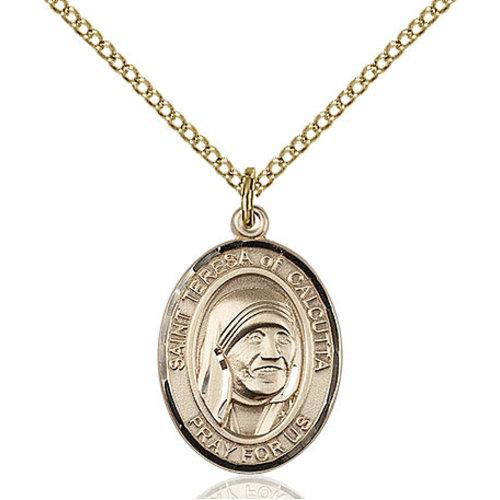 Bliss Blessed Teresa of Calcutta Pendant - Oval, Medium, 14kt Gold Filled