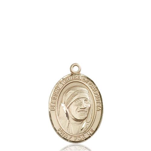 Bliss Blessed Teresa of Calcutta Medal - Oval, Medium, 14kt Gold