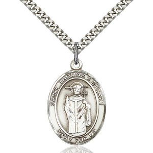 Bliss St. Catherine of Alexandria Pendant -  Oval, Large, Sterling Silver