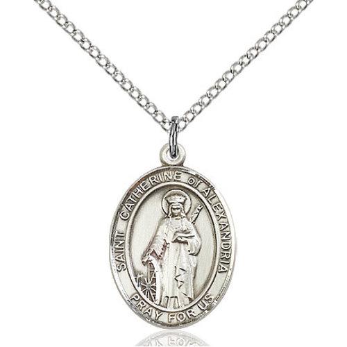 Bliss St. Catherine of Alexandria Pendan -  Oval, Medium, Sterling Silver