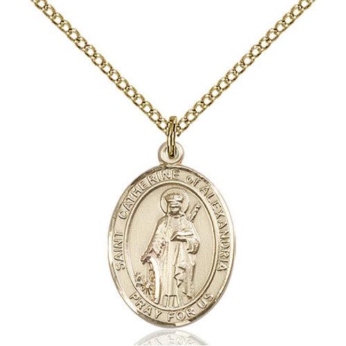 Bliss St. Catherine of Alexandria Pendant -  Oval, Medium, 14kt Gold Filled