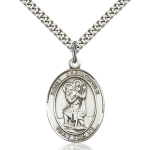 Bliss St. Christopher Pendant - Oval, Large, Sterling Silver