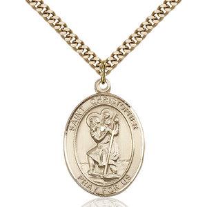 Bliss St. Christopher Pendant - Oval, Large, 14kt Gold Filled