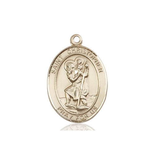 Bliss St. Christopher Medal - Oval, Large, 14kt Gold