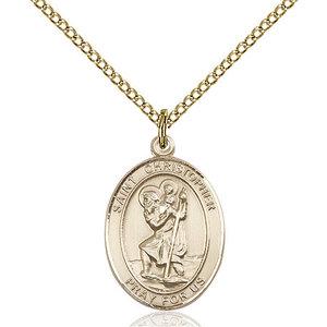 Bliss St. Christopher Pendant - Oval, Medium, 14kt Gold Filled