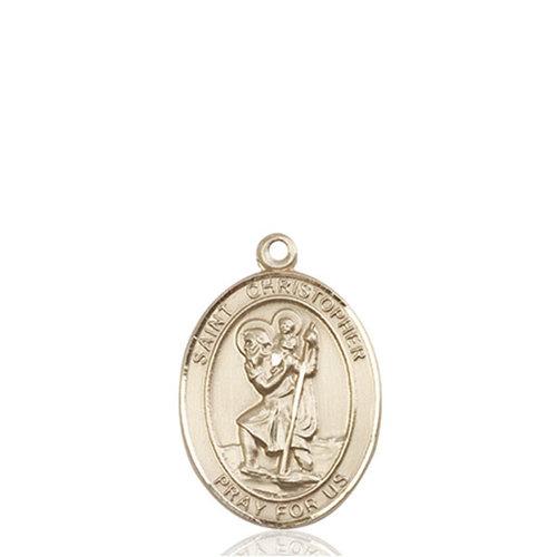 Bliss St. Christopher Medal - Oval, Medium, 14kt Gold
