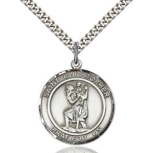 Bliss St. Christopher Pendant - Round, Large, Sterling Silver