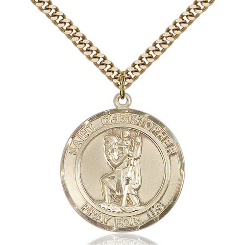 Bliss St. Christopher Pendant - Round, Large, 14kt Gold Filled