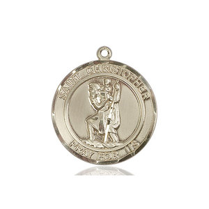 Bliss St. Christopher Medal - Round, Large, 14kt Gold