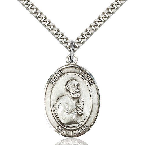 Bliss St. Peter the Apostle Pendant - Oval, Large, Sterling Silver