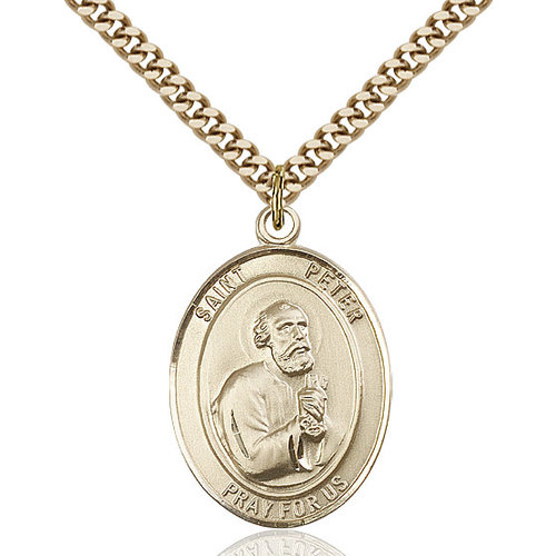 Bliss St. Peter the Apostle Pendant - Oval, Large, 14kt Gold Filled