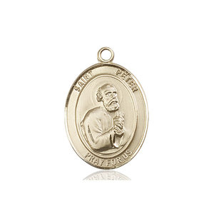 Bliss St. Peter the Apostle Medal - Oval, Large, 14kt Gold