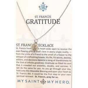 MY SAINT MY HERO St Francis Round Medal Necklace - Silver