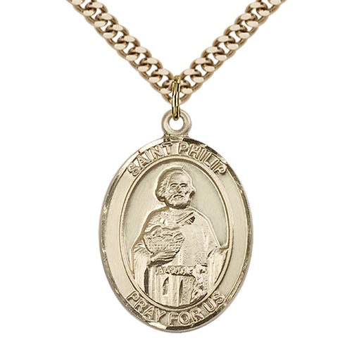 Bliss St. Philip the Apostle Pendant - Oval, Large, 14kt Gold Filled
