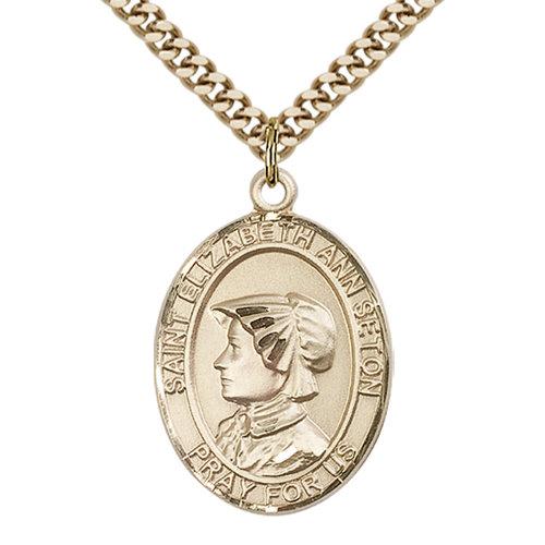 Bliss St. Elizabeth Ann Seton the Apostle Pendant - Oval, Large, 14kt Gold Filled
