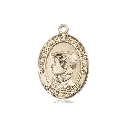 Bliss St. Elizabeth Ann Seton the Apostle Medal - Oval, Large, 14kt Gold