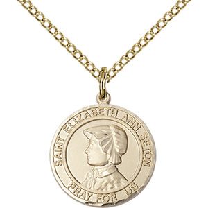 Bliss St. Elizabeth Ann Seton the Apostle Pendant -Round, Medium, 14kt Gold Filled