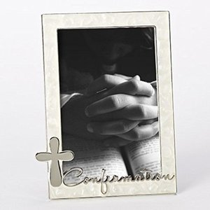 CONFIRMATION PICTURE FRAME WITH CROSS & PEARL TRIM