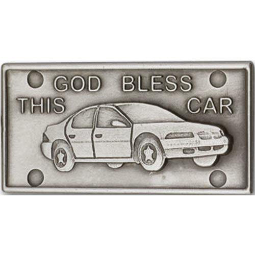 Bliss God Bless This Car Visor Clip, Antique Silver