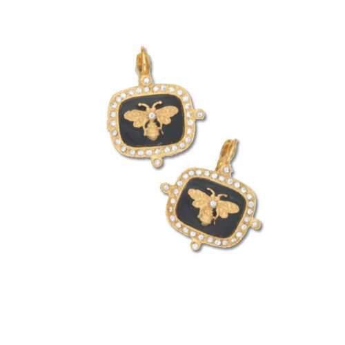 Gold Post Bumble Bee Earrings by Be-Je