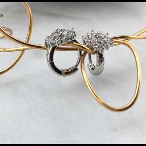 Pave Flower Huggie Earrings by Be-Je