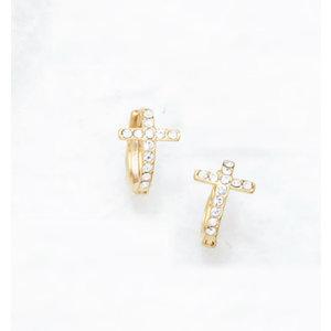 Hoop Cross Huggie Earrings by Be-Je