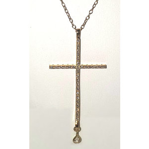 Gold Large Pave Cross w Teardrop Necklace by Be-Je