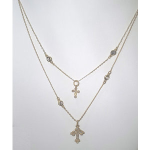 Gold Double Chain Pave Crosses Necklace by Be-Je
