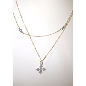 Gold Double Chain Pave Cross Necklace by Be-Je