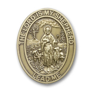 Bliss Lord Is My Shepherd Visor Clip, Antique Gold