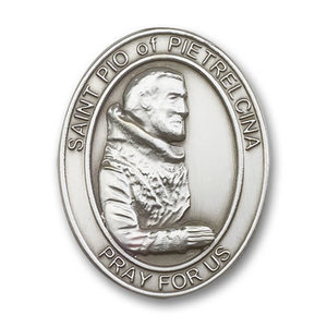 Bliss St. Pio of Pietrelcina Visor Clip, Antique Silver