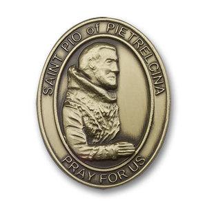Bliss St. Pio of Pietrelcina Visor Clip, Antique Gold