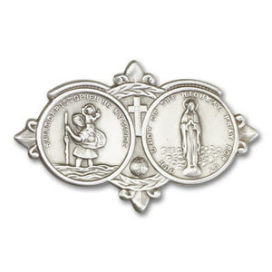 Bliss Our Lady of the Highway Visor Clip, Antique Silver