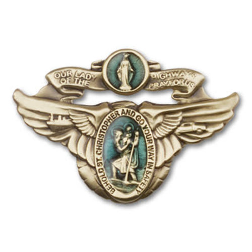 Bliss Our Lady of the Highway Visor Clip, Antique Gold