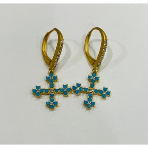 Gold & Turquoise Pave Cross Earrings Leverback by Be-Je