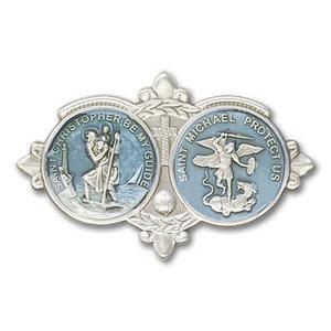 Bliss St Christopher / St Michael Visor Clip, Antique Silver