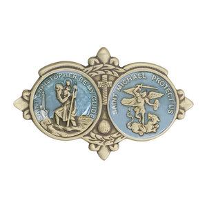 Bliss St Christopher / St Michael Visor Clip, Antique Gold