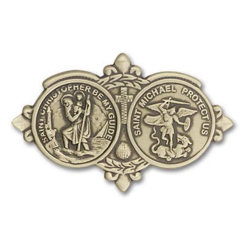Bliss St. Christopher / St Michael Visor Clip, Antique Gold