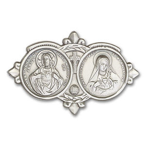 Bliss Jesus / Mary Visor Clip, Antique Silver