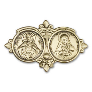 Bliss Jesus / Mary Visor Clip, Antique Gold