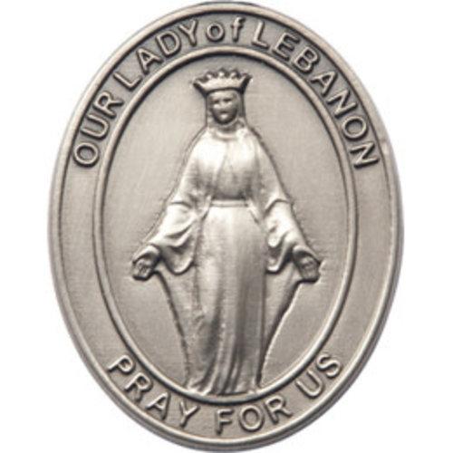 Bliss Our Lady of Lebanon Visor Clip, Silver Oxide