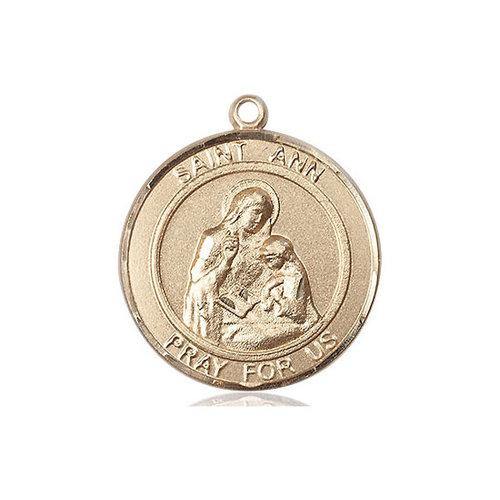 Bliss 14kt Gold St. Ann Medal - Round, Large