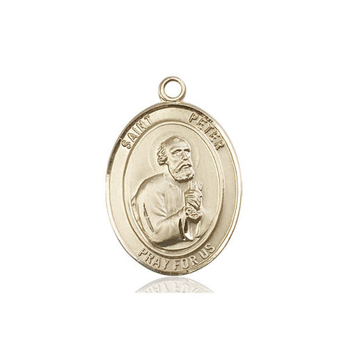 Bliss St. Peter the Apostle Medal - Oval, Medium, 14kt Gold