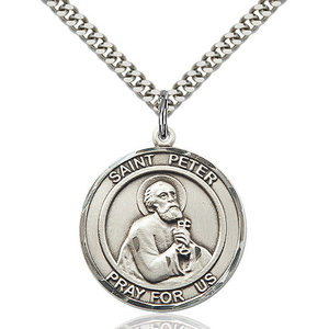 Bliss St. Peter the Apostle Pendant -Round, Large, Sterling Silver