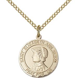 Bliss St. Elizabeth Ann Seton the Apostle Medal -Round, Large, 14kt Gold